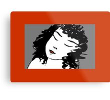 Ink Drawing of sleeping Girl with red frame. Graphic Metal Print