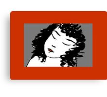 Ink Drawing of sleeping Girl with red frame. Graphic Canvas Print