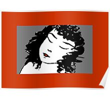 Ink Drawing of sleeping Girl with red frame. Graphic Poster