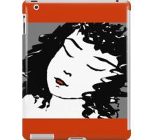 Ink Drawing of sleeping Girl with red frame. Graphic iPad Case/Skin