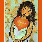 Golden Sleeping Girl with Love Heart. by Mary Taylor