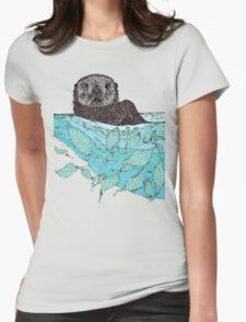 Sea Otter Sketch Color Womens Fitted T-Shirt