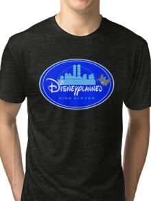 """DI$NEYPLANNED"" Blue Logo v.2  (dark color tees)  Tri-blend T-Shirt"