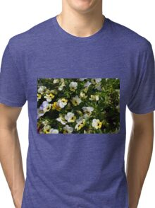 Yellow white flowers in the garden. Tri-blend T-Shirt