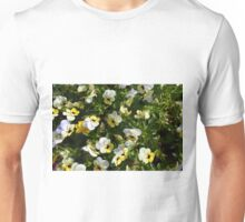 Yellow white flowers in the garden. Unisex T-Shirt