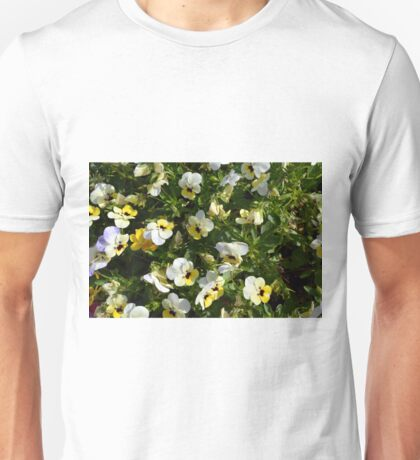 Yellow white flowers in the garden. Unisex T-Shirt