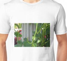 Green leaves near an ancient column. Unisex T-Shirt