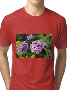 Macro on purple flowers in the garden. Tri-blend T-Shirt