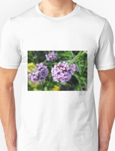 Macro on purple flowers in the garden. Unisex T-Shirt