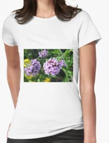 Macro on purple flowers in the garden. Womens Fitted T-Shirt