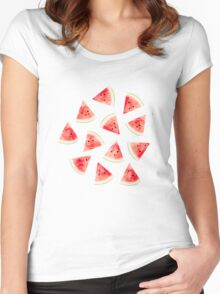 Watercolor Watermelon Pattern #redbubble #lifestyle Women's Fitted Scoop T-Shirt