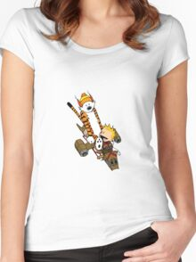 captain calvin and hobbe Women's Fitted Scoop T-Shirt