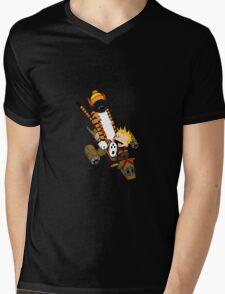 captain calvin and hobbe Mens V-Neck T-Shirt
