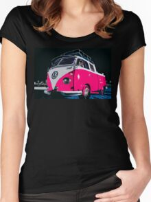 VW camper Pinky  Women's Fitted Scoop T-Shirt