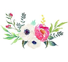 Anemone Peony Watercolor Bouquet Photographic Print