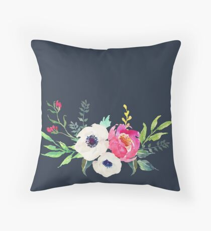 Anemone Peony Watercolor Bouquet Throw Pillow