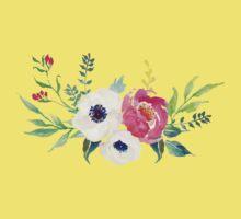Anemone Peony Watercolor Bouquet Kids Tee
