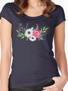 Anemone Peony Watercolor Bouquet Women's Fitted Scoop T-Shirt
