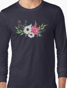 Anemone Peony Watercolor Bouquet Long Sleeve T-Shirt