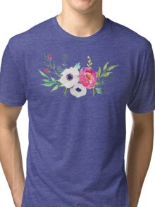 Anemone Peony Watercolor Bouquet Tri-blend T-Shirt