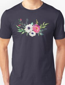 Anemone Peony Watercolor Bouquet T-Shirt