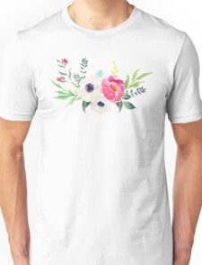 Anemone Peony Watercolor Bouquet Unisex T-Shirt