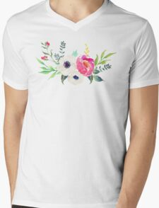Anemone Peony Watercolor Bouquet Mens V-Neck T-Shirt