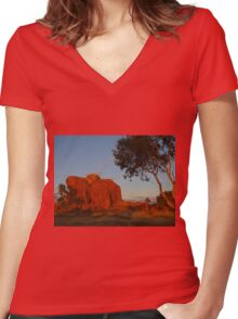 Devils Marbles at Sunrise, Northern Territory Women's Fitted V-Neck T-Shirt