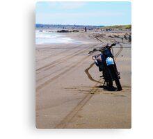 Motor Bike on Sandy Beach (New Zealand) Canvas Print