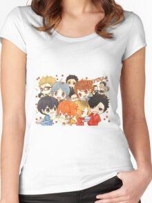 Chibi 7 Haikyuu!! Anime Women's Fitted Scoop T-Shirt