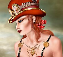 Steam Punk Woman in Red by Paul Fleet