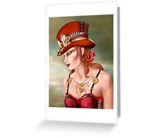Steam Punk Woman in Red Greeting Card