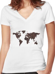 COFFEE MAPS Women's Fitted V-Neck T-Shirt