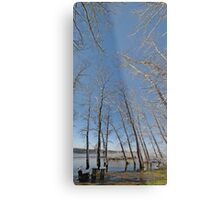 river water trees snow Metal Print