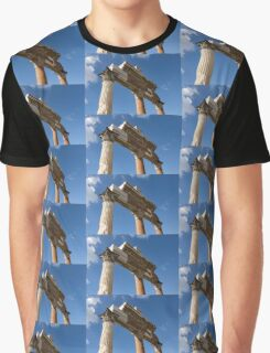 Ancient Pompeii Broken Treasures - A Skyward View of a Classical Corinthian Colonnade Graphic T-Shirt