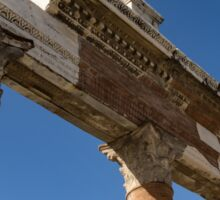 Ancient Pompeii Broken Treasures - A Skyward View of a Classical Corinthian Colonnade Sticker