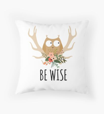 Be Wise Owl Throw Pillow