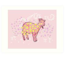 Goat rolled on flower garden  Art Print