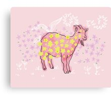 Goat rolled on flower garden  Canvas Print