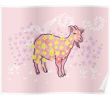 Goat rolled on flower garden  Poster