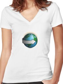 Around the World Women's Fitted V-Neck T-Shirt