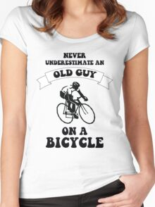 Never underestimate an old guy on a bicycle Women's Fitted Scoop T-Shirt