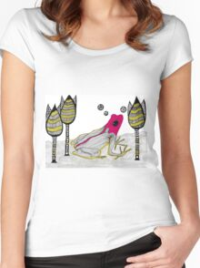 pink froh in the garden Women's Fitted Scoop T-Shirt