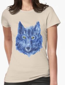 Wolf. Forest animal. Watercolor Animal Wolf. Womens Fitted T-Shirt