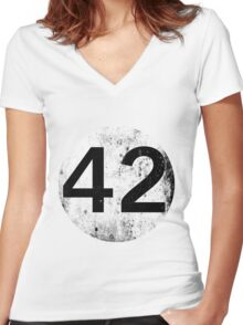 42 - Black Circle Women's Fitted V-Neck T-Shirt