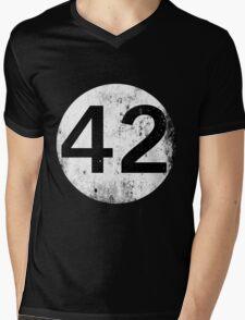 42 - Black Circle Mens V-Neck T-Shirt