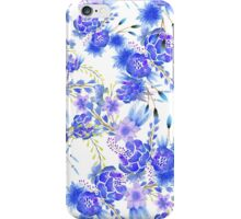 Elegant pink blue watercolor cute flowers pattern iPhone Case/Skin