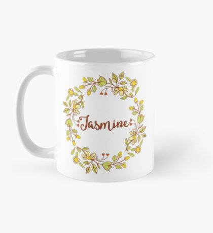 Jasmine lovely name and floral bouquet wreath Mug