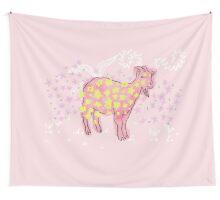 Goat rolled on flower garden  Wall Tapestry