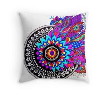 Mandala Colour Explosion Throw Pillow